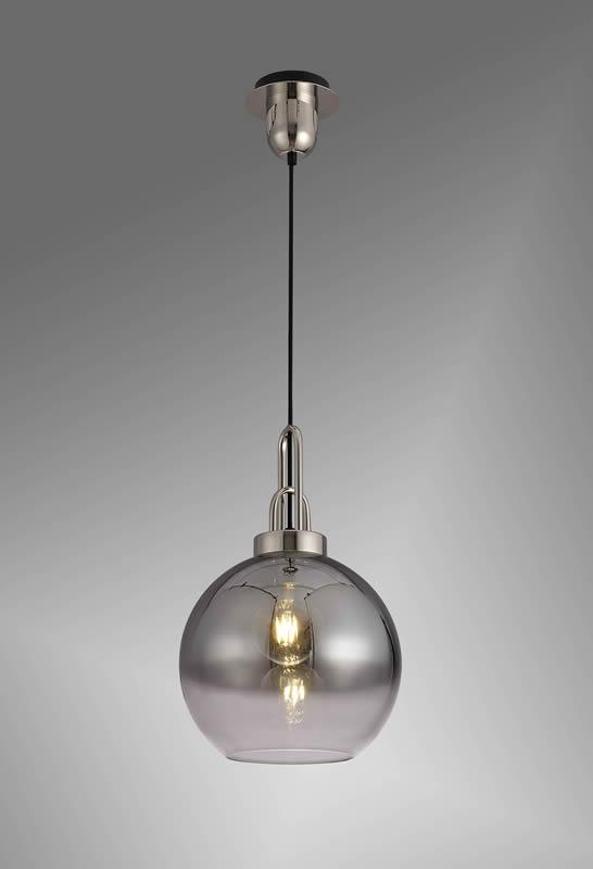 Lichfield Lighting Alder 1 Light Pendant E27 With 30cm Globe Glass, Polished Nickel/Matt Black/Smoked/Clear photo 2