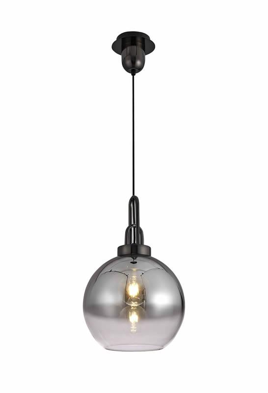 Lichfield Lighting Alder 1 Light Pendant E27 With 30cm Globe Glass, Black Chrome/Matt Black/Smoked/Clear photo 1