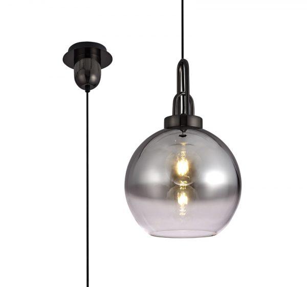 Lichfield Lighting Alder 1 Light Pendant E27 With 30cm Globe Glass, Black Chrome/Matt Black/Smoked/Clear photo 3