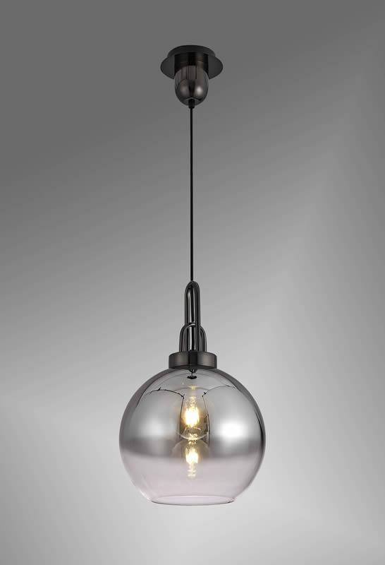 Lichfield Lighting Alder 1 Light Pendant E27 With 30cm Globe Glass, Black Chrome/Matt Black/Smoked/Clear photo 2