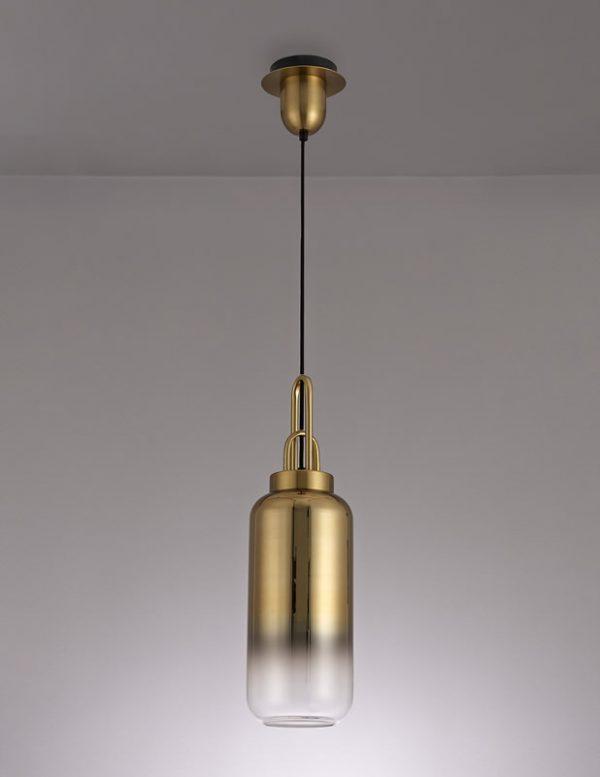 Lichfield Lighting Alder 1 Light Pendant E27 With 30cm Cylinder Glass, Brass Gold/Matt Black/Clear photo 2