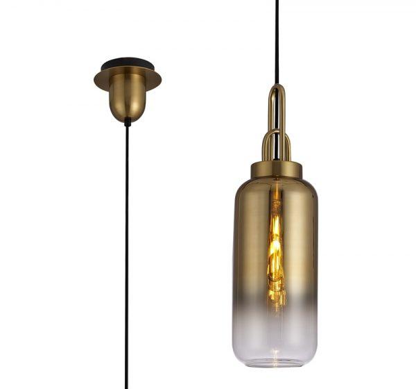 Lichfield Lighting Alder 1 Light Pendant E27 With 30cm Cylinder Glass, Brass Gold/Matt Black/Clear photo 3