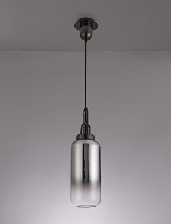 Lichfield Lighting Alder 1 Light Pendant E27 With 30cm Cylinder Glass, Black Chrome/Matt Black/Smoked/Clear photo 3