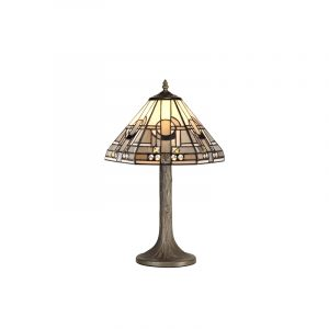 Lichfield Lighting April 1 Light Tree Like Table Lamp E27 With 30cm Tiffany Shade, White/Grey/Black/Clear Crystal/Aged Antique Brass photo 1