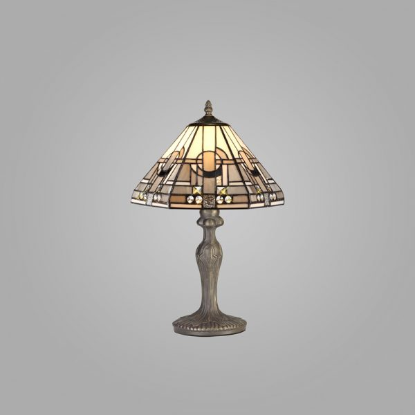 Lichfield Lighting April 1 Light Curved Table Lamp E27 With 30cm Tiffany Shade, White/Grey/Black/Clear Crystal/Aged Antique Brass photo 2