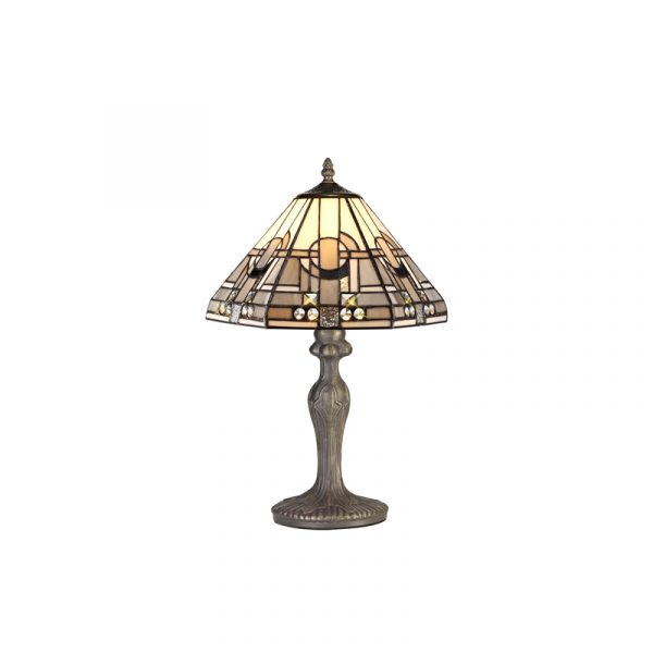 Lichfield Lighting April 1 Light Curved Table Lamp E27 With 30cm Tiffany Shade, White/Grey/Black/Clear Crystal/Aged Antique Brass photo 1