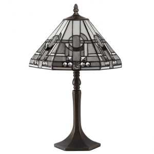 Lichfield Lighting April 1 Light Octagonal Table Lamp E27 With 30cm Tiffany Shade, White/Grey/Black/Clear Crystal/Aged Antique Brass photo 1