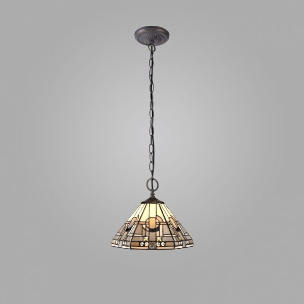 Lichfield Lighting April 2 Light Downlighter Pendant E27 With 30cm Tiffany Shade, White/Grey/Black/Clear Crystal/Aged Antique Brass photo 2