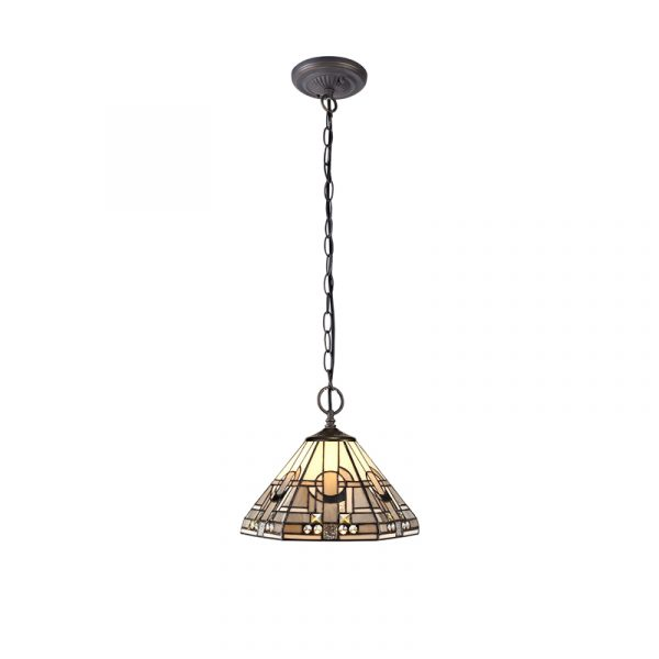 Lichfield Lighting April 2 Light Downlighter Pendant E27 With 30cm Tiffany Shade, White/Grey/Black/Clear Crystal/Aged Antique Brass photo 1