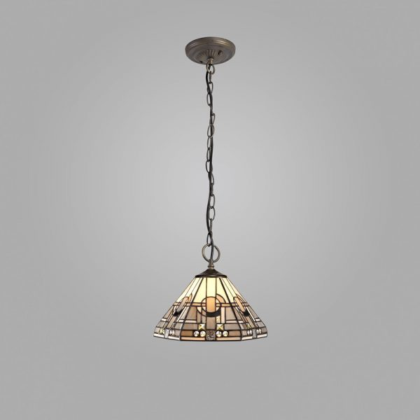 Lichfield Lighting April 3 Light Downlighter Pendant E27 With 30cm Tiffany Shade, White/Grey/Black/Clear Crystal/Aged Antique Brass photo 2