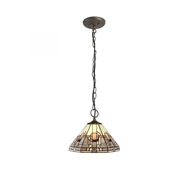 Lichfield Lighting April 3 Light Downlighter Pendant E27 With 30cm Tiffany Shade, White/Grey/Black/Clear Crystal/Aged Antique Brass photo 1