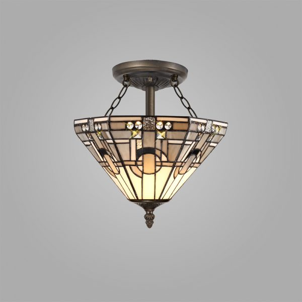 Lichfield Lighting April 2 Light E27 Semi Ceiling With Tiffany Shade 30cm Shade, White/Grey/Black/Clear Crystal/Aged Antique Brass photo 2