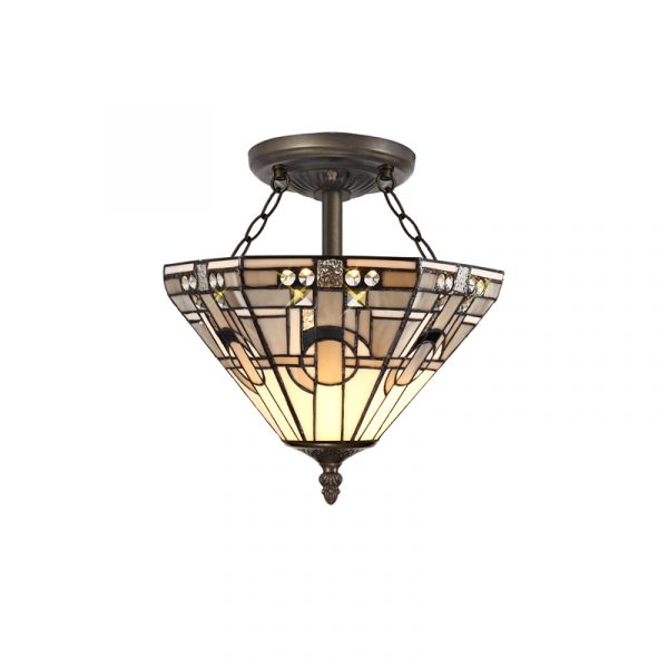 Lichfield Lighting April 2 Light E27 Semi Ceiling With Tiffany Shade 30cm Shade, White/Grey/Black/Clear Crystal/Aged Antique Brass photo 1