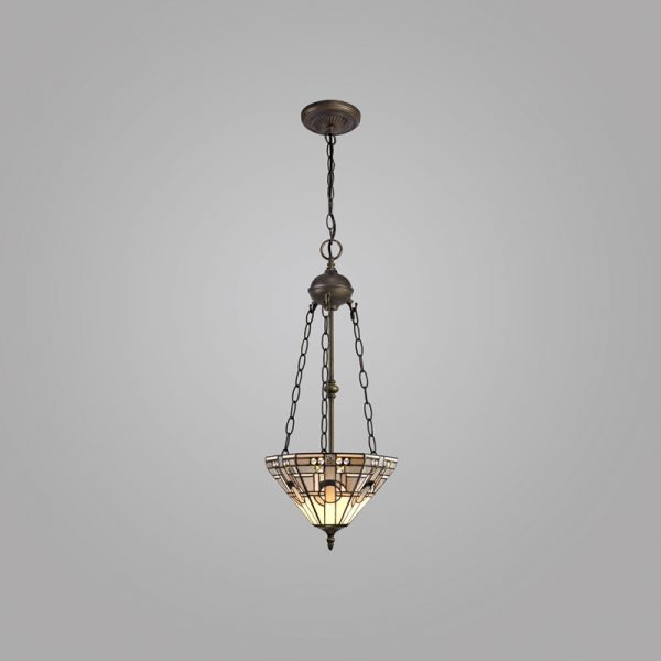 Lichfield Lighting April 2 Light Uplighter Pendant E27 With 30cm Tiffany Shade, White/Grey/Black/Clear Crystal/Aged Antique Brass photo 2