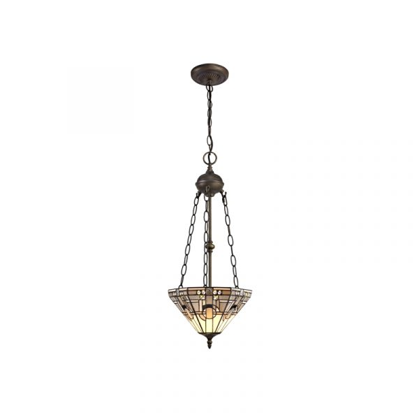 Lichfield Lighting April 2 Light Uplighter Pendant E27 With 30cm Tiffany Shade, White/Grey/Black/Clear Crystal/Aged Antique Brass photo 1