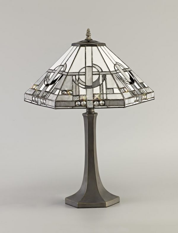 Lichfield Lighting April 2 Light Octagonal Table Lamp E27 With 40cm Tiffany Shade, White/Grey/Black/Clear Crystal/Aged Antique Brass photo 2