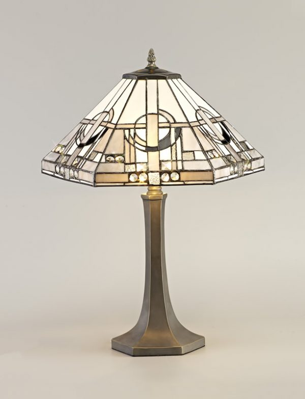 Lichfield Lighting April 2 Light Octagonal Table Lamp E27 With 40cm Tiffany Shade, White/Grey/Black/Clear Crystal/Aged Antique Brass photo 3
