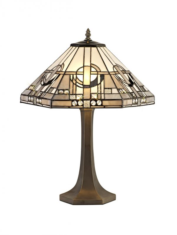 Lichfield Lighting April 2 Light Octagonal Table Lamp E27 With 40cm Tiffany Shade, White/Grey/Black/Clear Crystal/Aged Antique Brass photo 1