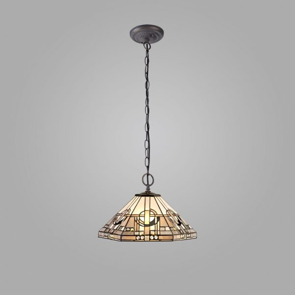 Lichfield Lighting April 2 Light Downlighter Pendant E27 With 40cm Tiffany Shade, White/Grey/Black/Clear Crystal/Aged Antique Brass photo 2