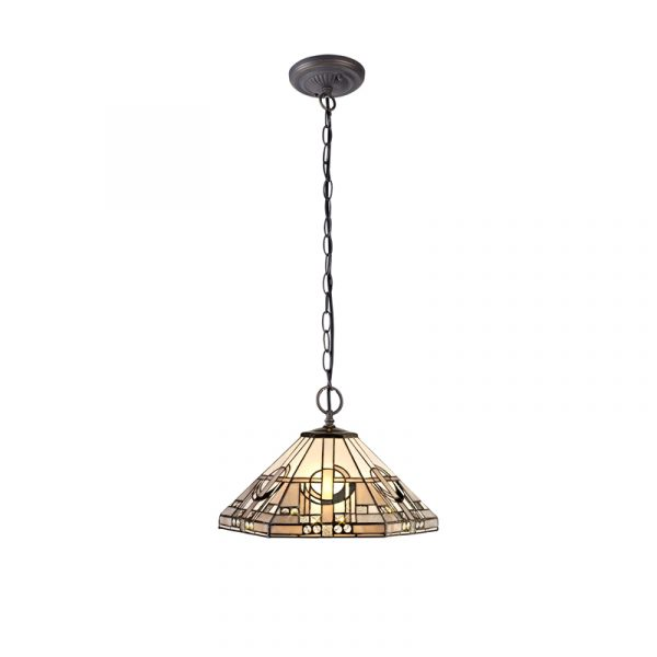Lichfield Lighting April 2 Light Downlighter Pendant E27 With 40cm Tiffany Shade, White/Grey/Black/Clear Crystal/Aged Antique Brass photo 1
