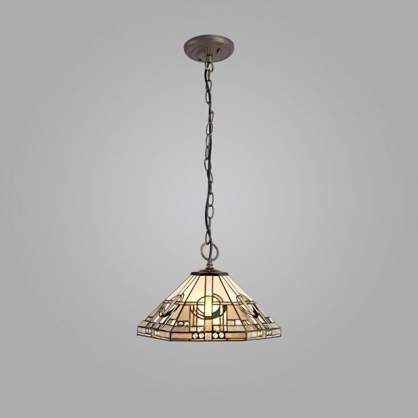 Lichfield Lighting April 3 Light Downlighter Pendant E27 With 40cm Tiffany Shade, White/Grey/Black/Clear Crystal/Aged Antique Brass photo 1LL7825 photo 2