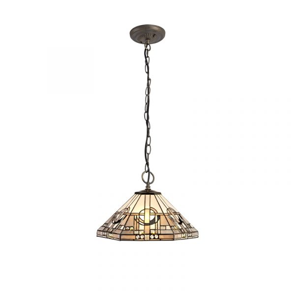 Lichfield Lighting April 3 Light Downlighter Pendant E27 With 40cm Tiffany Shade, White/Grey/Black/Clear Crystal/Aged Antique Brass photo 1LL7825 photo 1