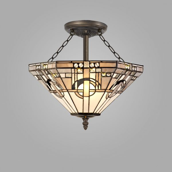 Lichfield Lighting April 3 Light E27 Semi Ceiling With Tiffany Shade 40cm Shade, White/Grey/Black/Clear Crystal/Aged Antique Brass photo 2