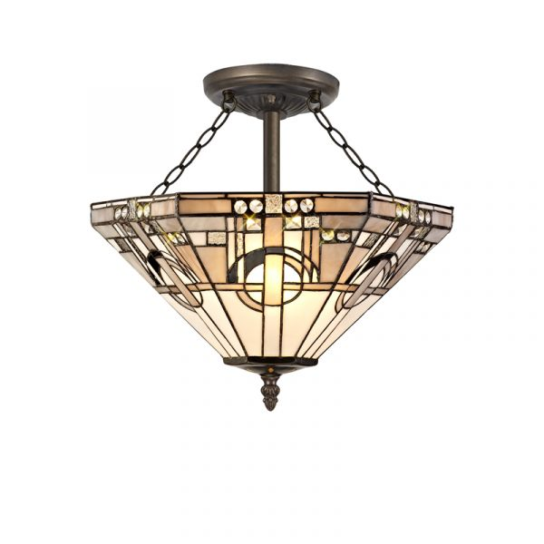 Lichfield Lighting April 3 Light E27 Semi Ceiling With Tiffany Shade 40cm Shade, White/Grey/Black/Clear Crystal/Aged Antique Brass photo 1