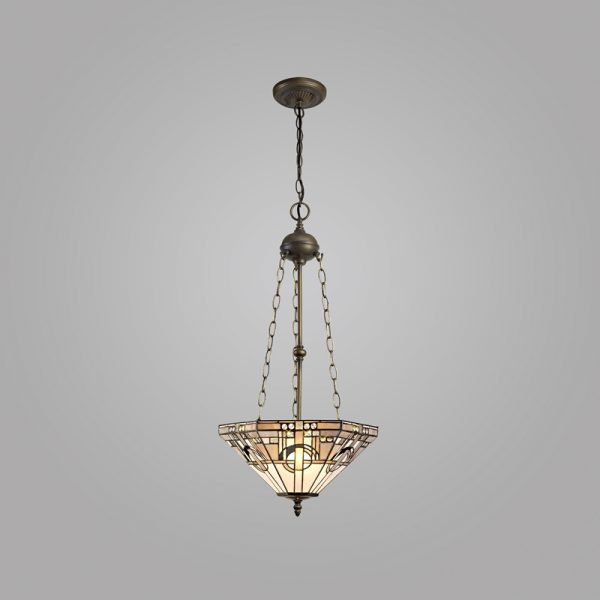 Lichfield Lighting April 3 Light Uplighter Pendant E27 With 40cm Tiffany Shade, White/Grey/Black/Clear Crystal/Aged Antique Brass photo 3