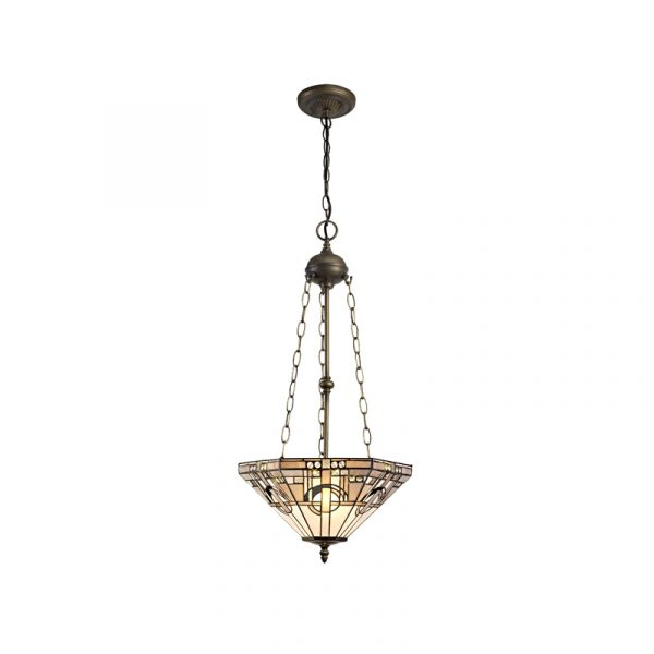 Lichfield Lighting April 3 Light Uplighter Pendant E27 With 40cm Tiffany Shade, White/Grey/Black/Clear Crystal/Aged Antique Brass photo 1