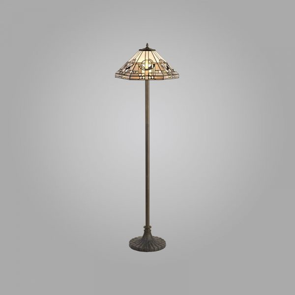 Lichfield Lighting April 2 Light Stepped Design Floor Lamp E27 With 40cm Tiffany Shade, White/Grey/Black/Clear Crystal/Aged Antique Brass photo 2
