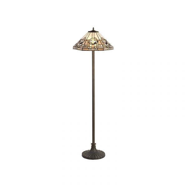 Lichfield Lighting April 2 Light Stepped Design Floor Lamp E27 With 40cm Tiffany Shade, White/Grey/Black/Clear Crystal/Aged Antique Brass photo 1