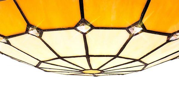 Lichfield Lighting Auchinleck 1 Light Pendant E27 With 35cm Tiffany Shade, Credlock/Beige/Clear Crystal Centre/Aged Antique Brass Trim/Black photo 3