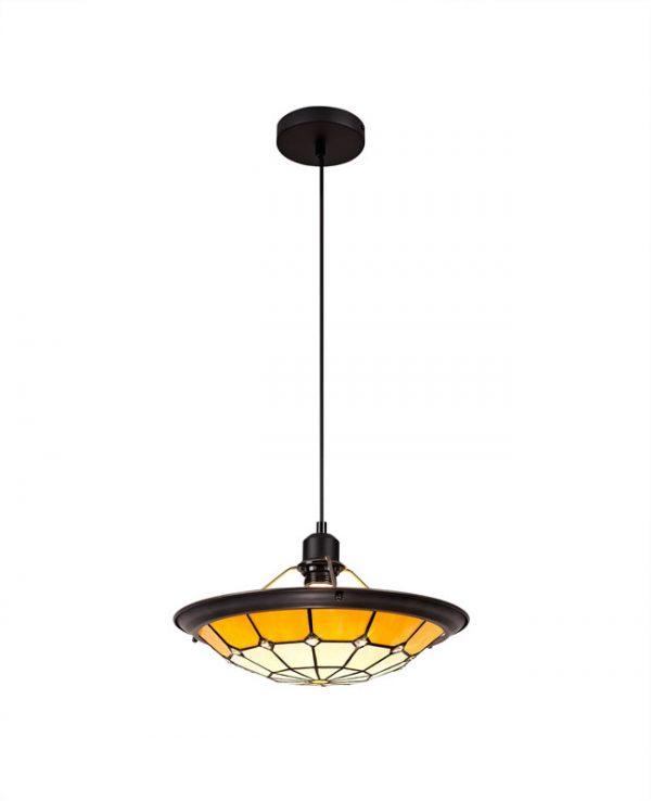Lichfield Lighting Auchinleck 1 Light Pendant E27 With 35cm Tiffany Shade, Credlock/Beige/Clear Crystal Centre/Aged Antique Brass Trim/Black photo 1