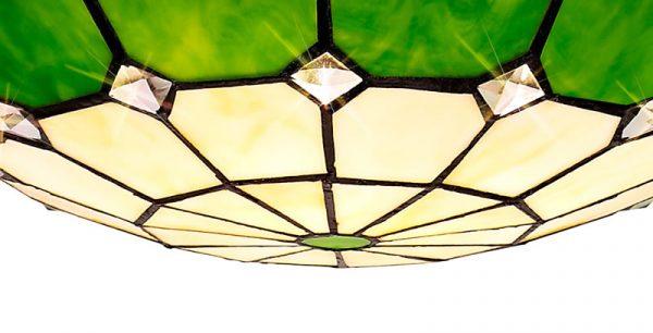 Lichfield Lighting Auchinleck 1 Light Pendant E27 With 35cm Tiffany Shade, Credlock/Green/Clear Crystal Centre/Aged Antique Brass Trim/Black photo 2