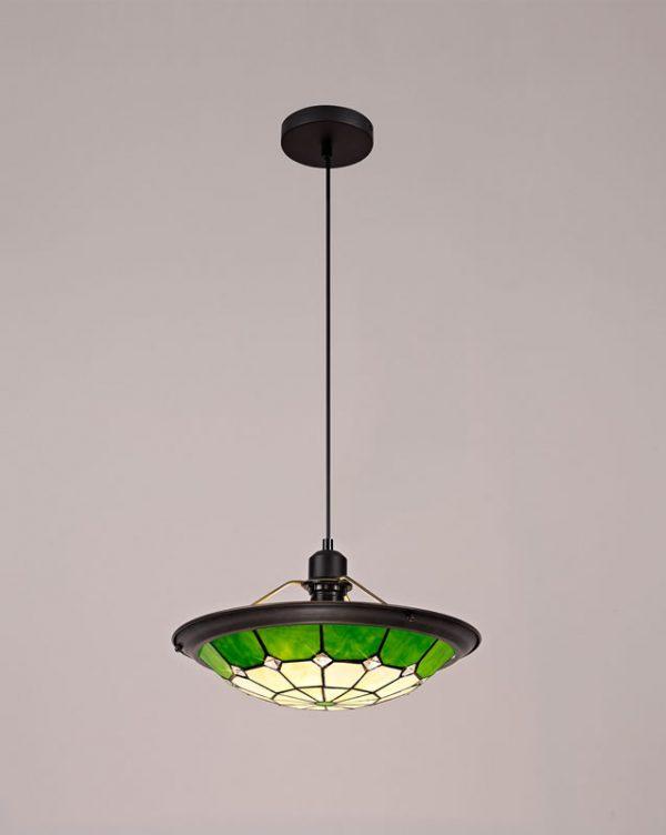 Lichfield Lighting Auchinleck 1 Light Pendant E27 With 35cm Tiffany Shade, Credlock/Green/Clear Crystal Centre/Aged Antique Brass Trim/Black photo 3