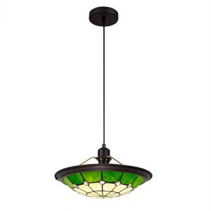 Lichfield Lighting Auchinleck 1 Light Pendant E27 With 35cm Tiffany Shade, Credlock/Green/Clear Crystal Centre/Aged Antique Brass Trim/Black photo 1