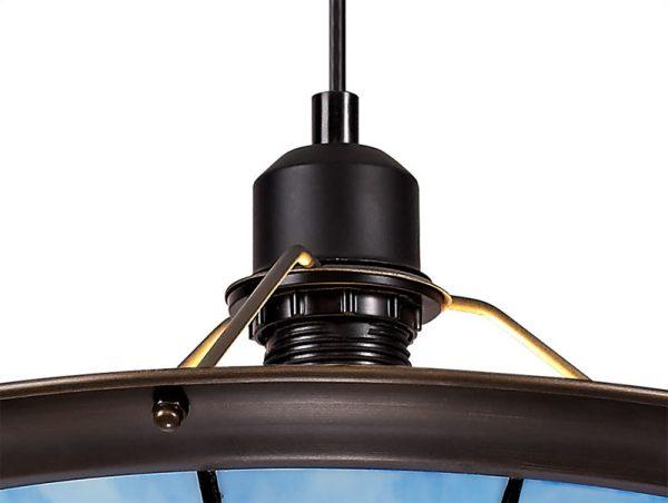 Lichfield Lighting Auchinleck 1 Light Pendant E27 With 35cm Tiffany Shade, Credlock/Rich Blue/Clear Crystal Centre/Aged Antique Brass Trim/Black photo 3