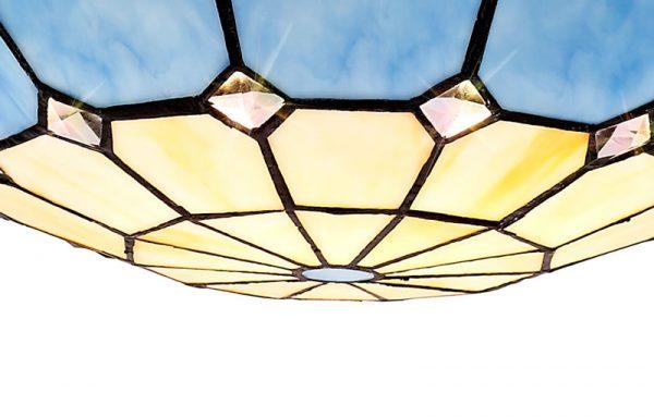 Lichfield Lighting Auchinleck 1 Light Pendant E27 With 35cm Tiffany Shade, Credlock/Rich Blue/Clear Crystal Centre/Aged Antique Brass Trim/Black photo 2