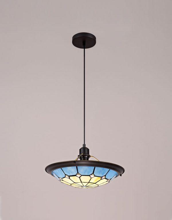 Lichfield Lighting Auchinleck 1 Light Pendant E27 With 35cm Tiffany Shade, Credlock/Rich Blue/Clear Crystal Centre/Aged Antique Brass Trim/Black photo 4