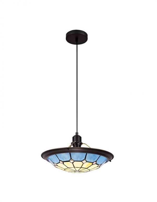 Lichfield Lighting Auchinleck 1 Light Pendant E27 With 35cm Tiffany Shade, Credlock/Rich Blue/Clear Crystal Centre/Aged Antique Brass Trim/Black photo 1