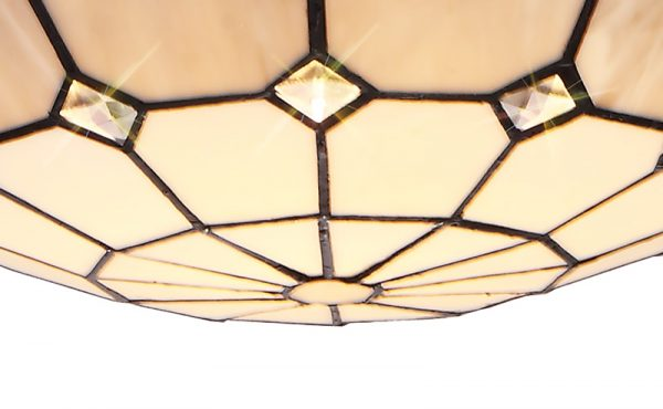 Lichfield Lighting Auchinleck 1 Light Pendant E27 With 35cm Tiffany Shade, Credlock/Grey/Crystal Centre/Satin Nickel Brass Trim/Satin Nickel photo 2
