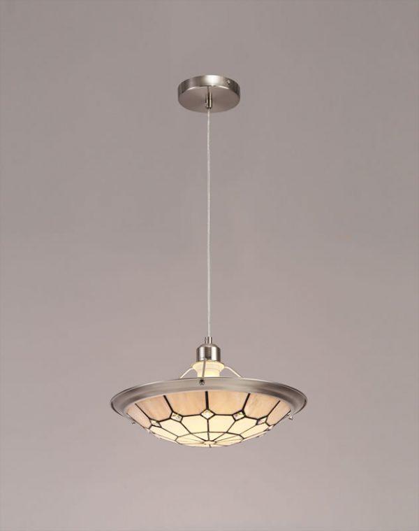 Lichfield Lighting Auchinleck 1 Light Pendant E27 With 35cm Tiffany Shade, Credlock/Grey/Crystal Centre/Satin Nickel Brass Trim/Satin Nickel photo 4