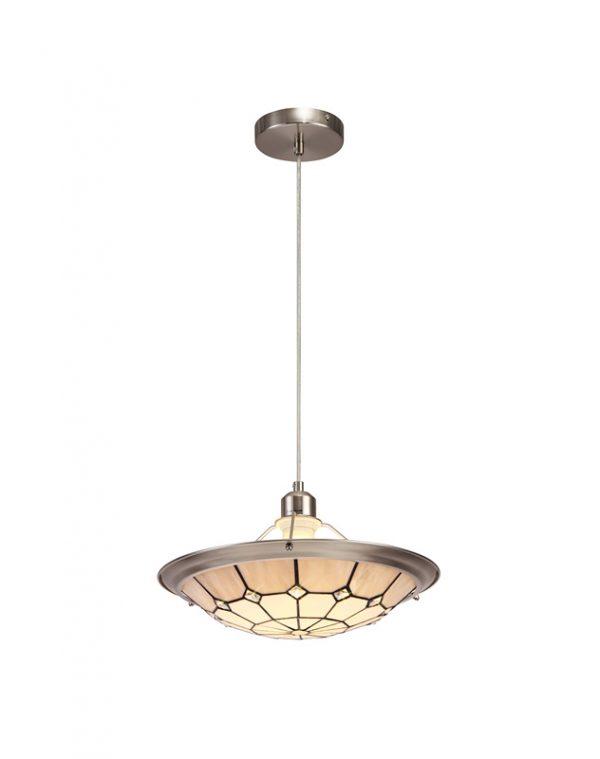 Lichfield Lighting Auchinleck 1 Light Pendant E27 With 35cm Tiffany Shade, Credlock/Grey/Crystal Centre/Satin Nickel Brass Trim/Satin Nickel photo 1