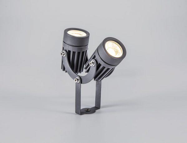 Lichfield Lighting Caterbanck Twin Spike/Wall Light, 2 x 3W LED, 3000K, 420lm, 30 Degree, IP65, Grey/Black, c/w 2m Cable, 3yrs Warranty photo 4