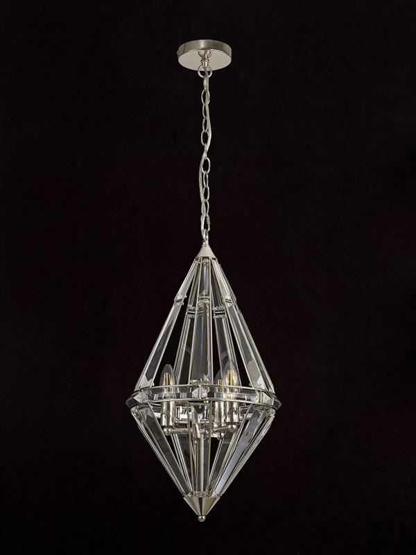 Lichfield Lighting Chadswell Diamond Pendant, 3 Light E27, Polished Nickel photo 4