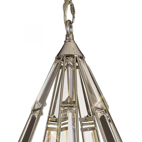 Lichfield Lighting Chadswell Diamond Pendant, 3 Light E27, Polished Nickel photo 3