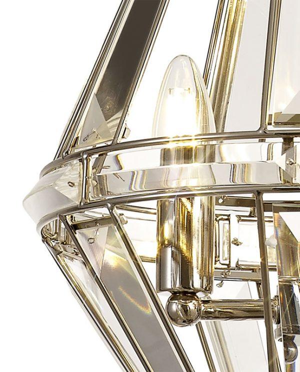 Lichfield Lighting Chadswell Diamond Pendant, 3 Light E27, Polished Nickel photo 2