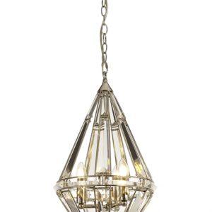 Lichfield Lighting Chadswell Diamond Pendant, 3 Light E27, Polished Nickel photo 1