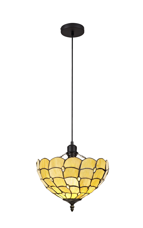 Lichfield Lighting Chatterton 1 Light Uplighter Pendant E27 With 30cm Tiffany Shade, Beige/Clear Crystal/Black photo 1